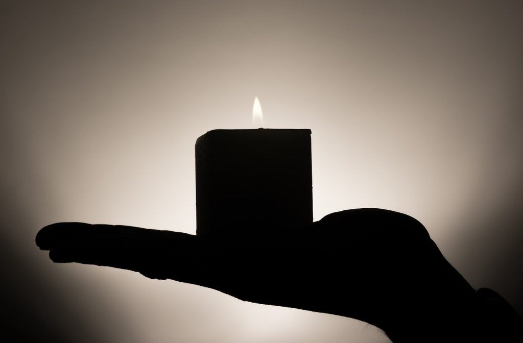 candle, hand, candlelight